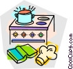 Vector Clip Art graphic  of a cooking on the stove
