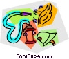 fire hydrant with hose attached fighting a fire Vector Clipart illustration