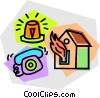 Vector Clip Art image  of a house on fire