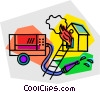 Vector Clipart graphic  of a house on fire with fire truck