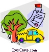 Vector Clipart graphic  of a Car accident with repair bill