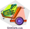 Vector Clip Art image  of a garbage can and garbage truck