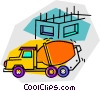 Vector Clip Art image  of a cement mixer