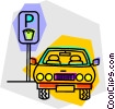 Vector Clipart graphic  of a car parked at a parking meter