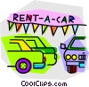 Vector Clip Art graphic  of a car lot