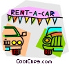 Vector Clip Art image  of a car lot