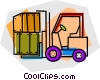 forklift with boxes Vector Clipart graphic