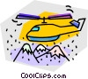 Vector Clip Art image  of a helicopter flying over