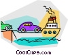 Vector Clipart graphic  of a ferry loading cars
