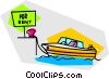 Vector Clip Art graphic  of a speed boat for rent