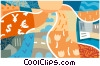 Vector Clip Art image  of a exchange of money for goods