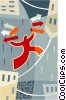 Vector Clip Art image  of a person walking on a tightrope