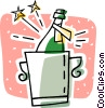bottle of champagne in a ice bucket Vector Clip Art graphic
