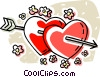 Vector Clipart image  of a hearts with an arrow through