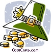 Vector Clip Art graphic  of a Shamrock, hat, gold coins