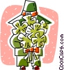 Vector Clip Art graphic  of a holding a bouquet of four leafed clovers