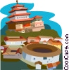 Vector Clip Art image  of a Chengde Mountain Resort