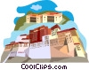 buildings in Katmandu Vector Clipart illustration
