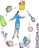 woman standing in the middle of her daily routine Vector Clipart illustration