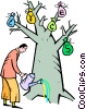 Vector Clipart graphic  of a man watering the money tree