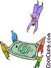 person diving into a dollar bill safety net Vector Clipart illustration