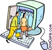 man and woman walking into a computer for meeting Vector Clipart picture