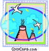 Vector Clip Art image  of a smoke stacks