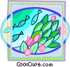 fish swimming past some flowers Vector Clipart image