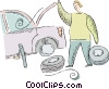 Vector Clip Art picture  of a man changing a flat tire on