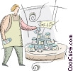 Vector Clip Art graphic  of a clerk making a display of canned goods