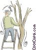 Vector Clipart picture  of a man pruning a tree