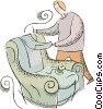 person upholstering a chair. reupholstering Vector Clipart graphic