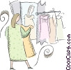 Vector Clipart illustration  of a woman trying on dresses