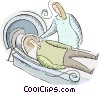 person getting a cat scan done at the hospital Vector Clipart illustration