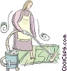 maid vacuuming the carpet Vector Clip Art image