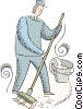 Vector Clip Art graphic  of a janitor cleaning the floor