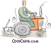 farmer plowing a field with a tractor Vector Clipart graphic