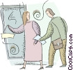 man and a woman talking at a doorway Vector Clipart picture