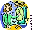 Vector Clip Art graphic  of a woman with clothes on a rack