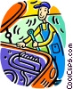 Vector Clip Art image  of an Auto mechanic working on a car