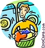 Vector Clipart graphic  of a man doing laundry