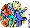 Vector Clipart image  of a conductor conducting the