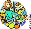 Vector Clipart illustration  of a woman with a box of produce
