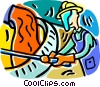 Vector Clip Art graphic  of a steel worker
