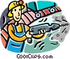 Vector Clipart image  of a man drilling in a mine