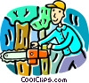 man cutting down a tree Vector Clipart picture