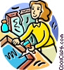Vector Clipart graphic  of a Woman repairing a picture