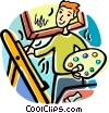 artist painting a picture Vector Clipart illustration
