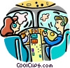 Vector Clip Art graphic  of an airline pilots flying the