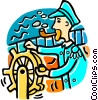 Vector Clip Art image  of a captain at the helm of the